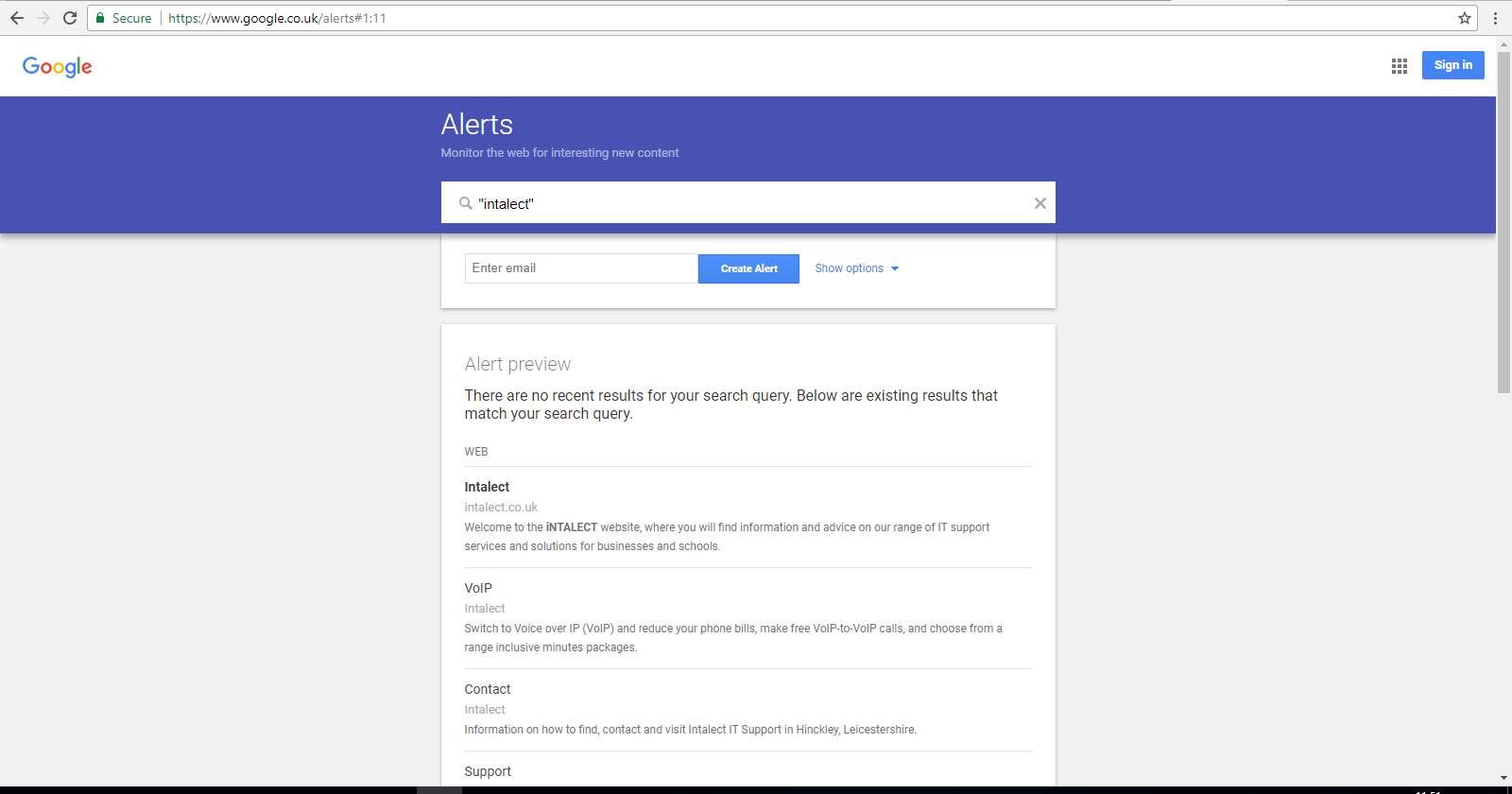 Picture of google alerts page